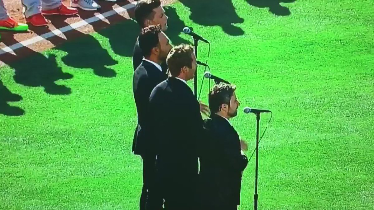 """Canadian quartet """"The Tenors"""" get political at MLB All-Star game, changing words of Canadian national anthem. https://t.co/0K2L2Vz5YP"""