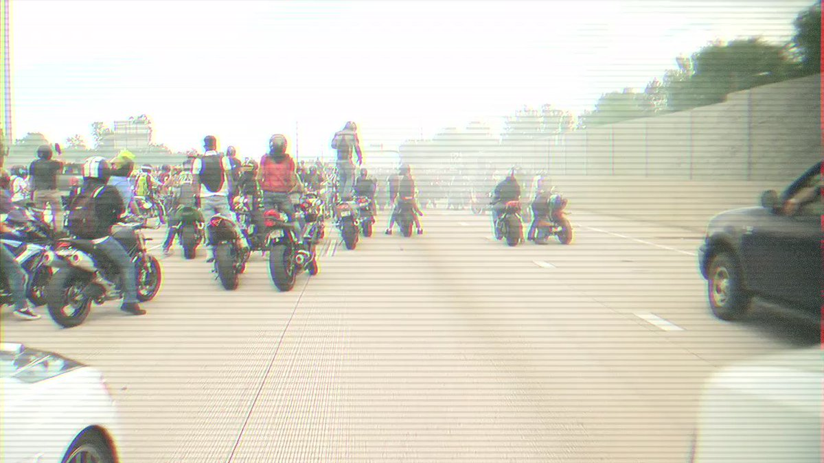 Why are hundreds of bikers in the middle of the Interstate in Denver?? Answer tonight at ten on @DenverChannel