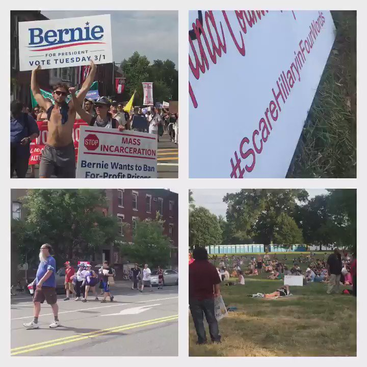 Rallies, Protests on Philadelphia's sweltering streets; Bernie supporters FDR park is their