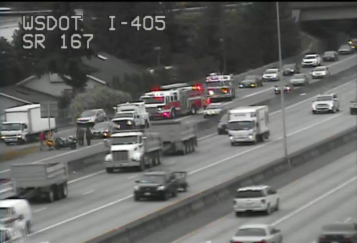 Fire on scene a crash on ramp from NB 405 to SB 167 and is partially blocking. Use caution while crews investigate.