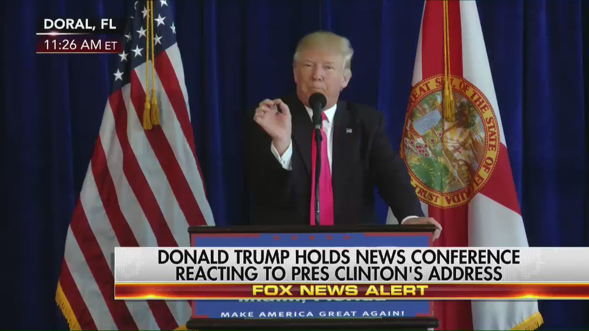 """Replying to @FoxNews: .@realDonaldTrump to reporter asking about #HillaryClinton: """"Be quiet. I know you want to save her."""""""