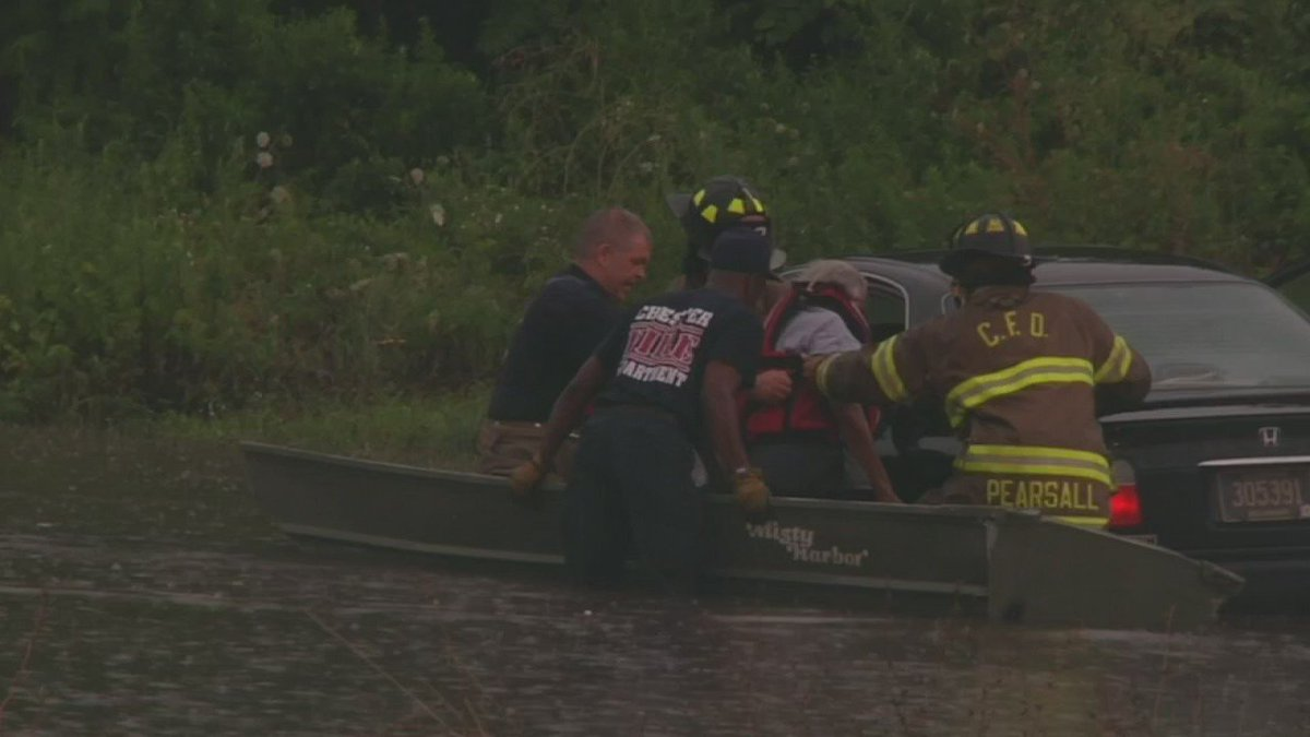 2 rescued from car after heavy rains cause flooding in Chester