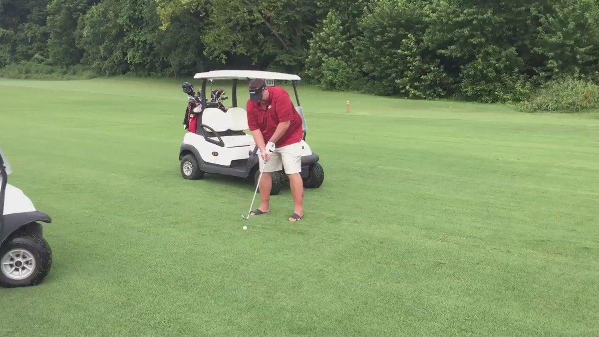 Arkansas football coach Bret Bielema's golf swing looks like a fork got stuck in a blender