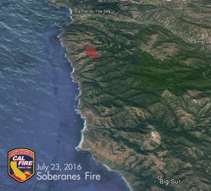 1 week time lapse of the SoberanesFire - now larger than the city of San Francisco at 31,386 acres.