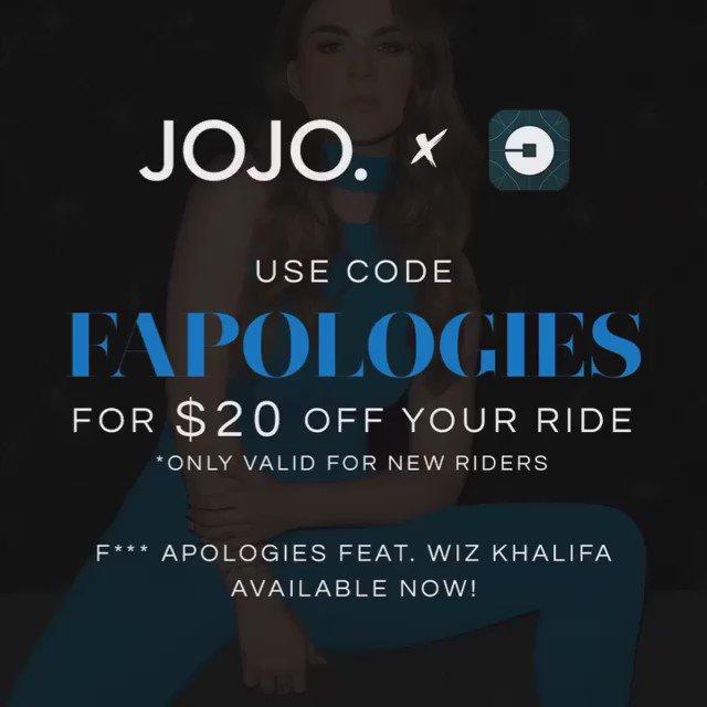 Great tune + free ride courtesy of @Uber #FApologies @iamjojo feat. @wizkhalifa https://t.co/WlLAtDa699