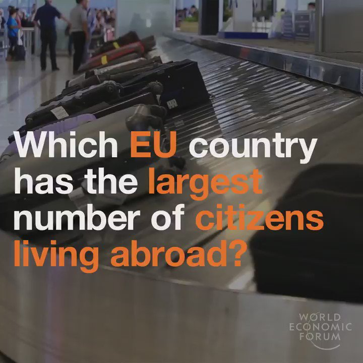 The top 5 EU countries with the largest number of citizens living abroad. 1. UK 🇬🇧 = 4.9 million 2. Poland 🇵🇱 = 4.4 million 3. Germany 🇩🇪 = 4 million 4. Romania 🇷🇴 = 3.4 million 5. Italy 🇮🇹 = 2.9 million