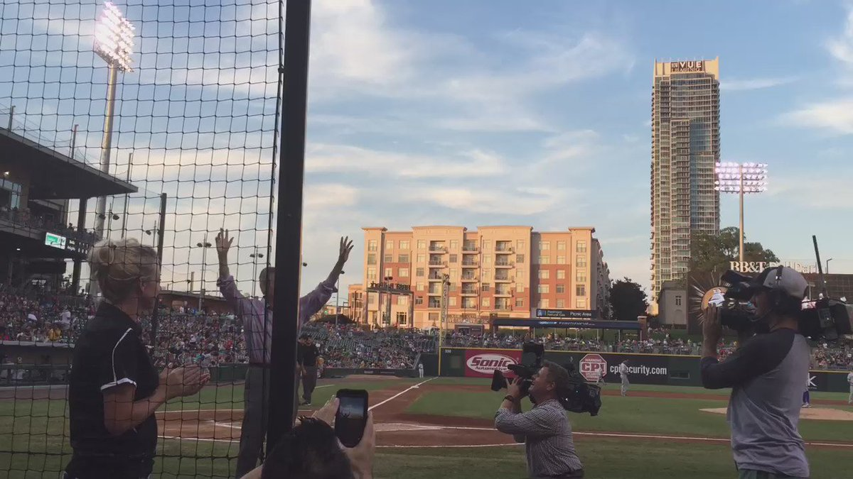 Larry Sprinkle makes his first public appearance since the car accident at @KnightsBaseball