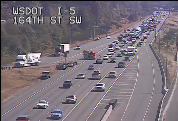 NB I-5 at 164th St SW in Lynnwood, a collision is blocking the right lane.