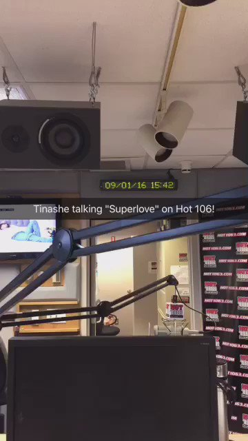 @Tinashe with @nickgradioshow about her new song #Superlove on @Hot106! Full interview: https://t.co/eZO7sXpiTS https://t.co/5xbgiHd62a