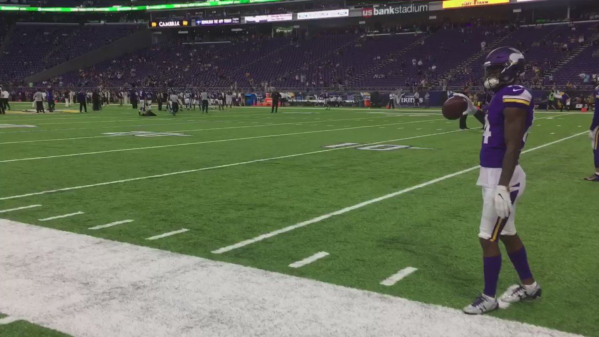 This is what it's all about! #Vikings WR @stefon_diggs playing catch pregame with young fans! https://t.co/94A2d8A4pL