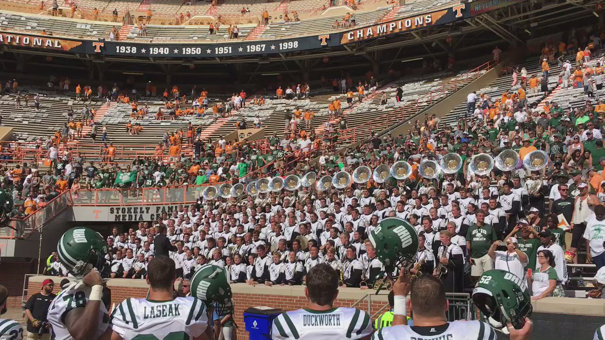 Alma mater time, none of the Ohio contingent left early https://t.co/FlfCWtk21Z