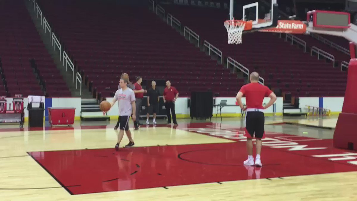 @JHarden13 working near the end of the Rockets first practice of the 2016 camp
