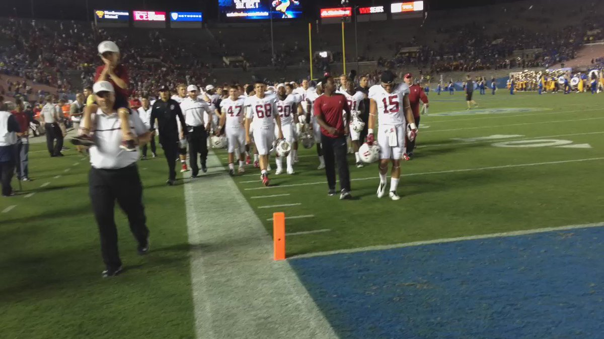 Stanford walking off the field after a dramatic come from behind win over UCLA 22-13. STANvsUCLA