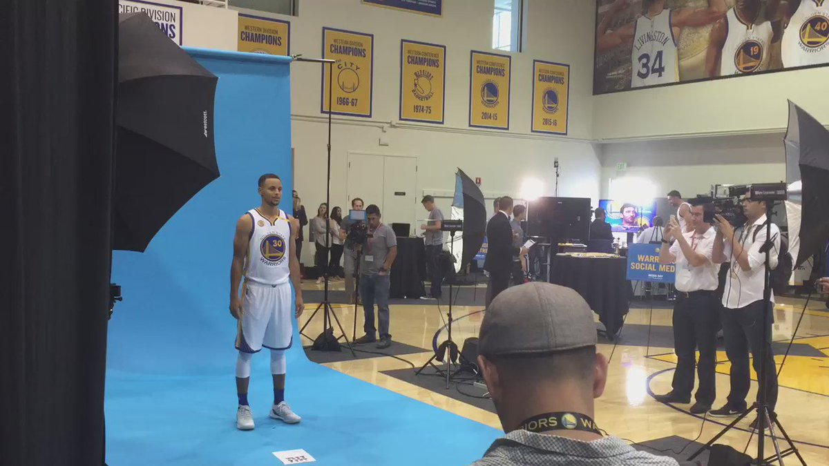 Boys are back. @StephenCurry30 at media day for @warriors