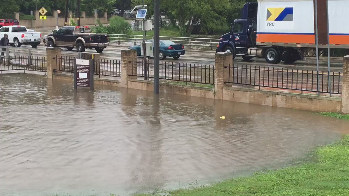 Sewell Park in San Marcos is flooded, but @txst students are actually enjoying the high waters, lol