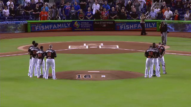Marlins honored Jose Fernandez with a video tribute before the start of last night's game