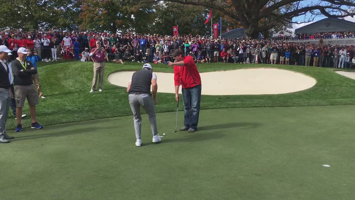 After heckling @HenrikStenson for missing the same putt over and over in a practice round in 2016, this fan got called out and given the chance to become a grandstand hero...