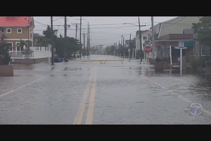 The scene at Bethany Beach, De. where @ABC7Brad says several streets are closed due to flooding.