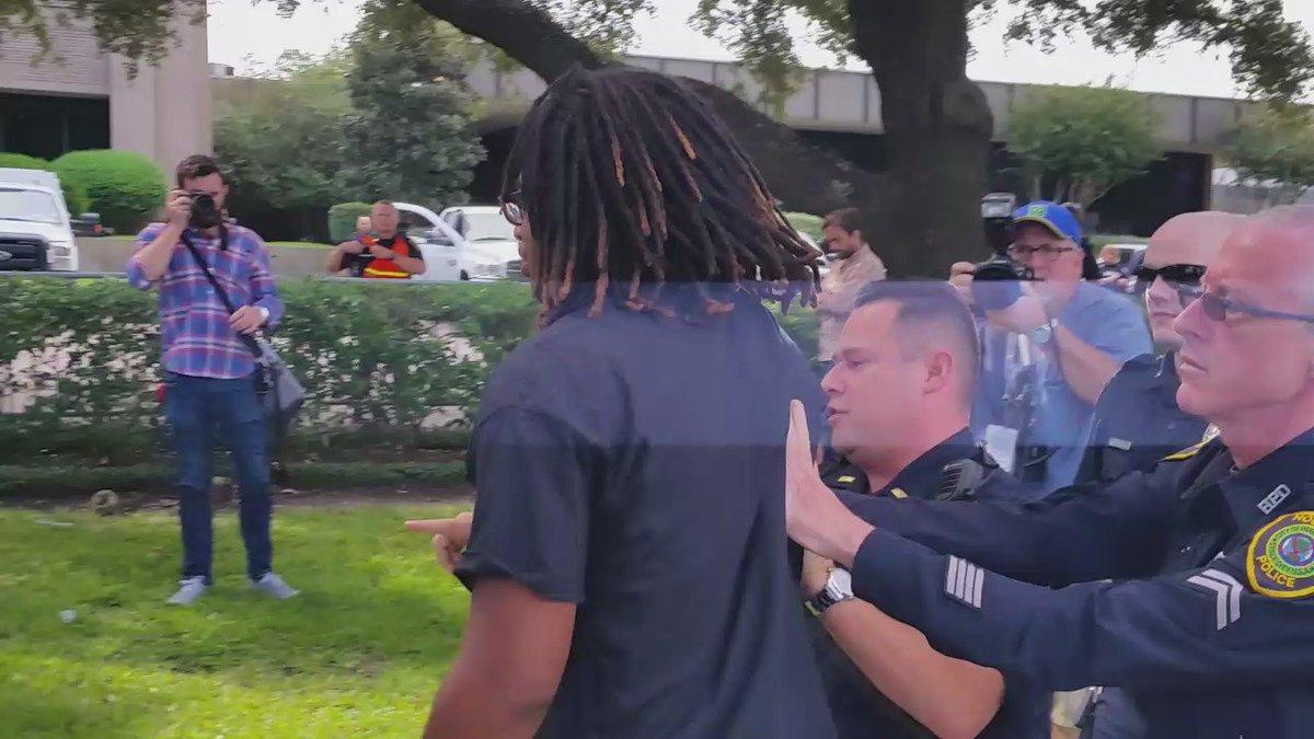 BlackLivesMatter protestor jumped barricade into media area. Peacefully escorted back. @KPRC2