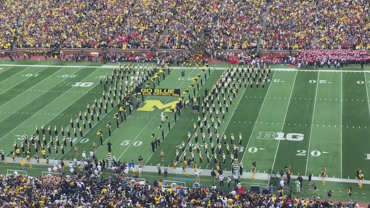 Michigan taking the field at Michigan Stadium ahead of its matchup against Wisconsin.