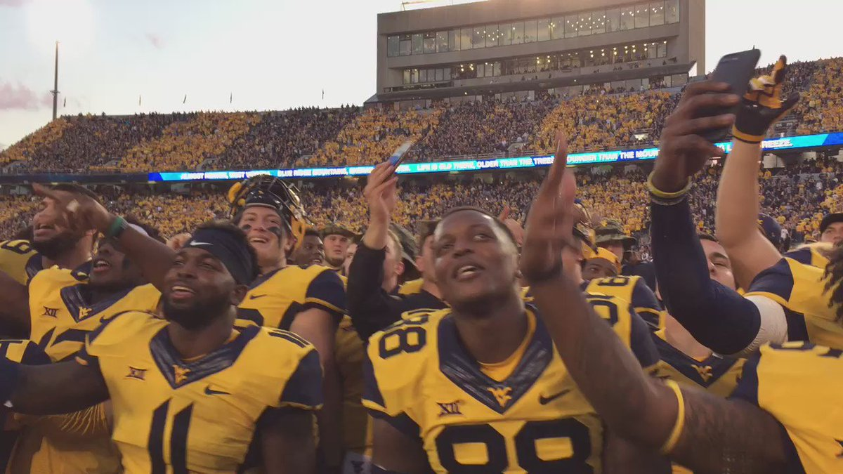 Sing along. The Mountaineers are 4-0 and that Kansas State monkey is off their back. #WVU https://t.co/cxfsjPLNhv