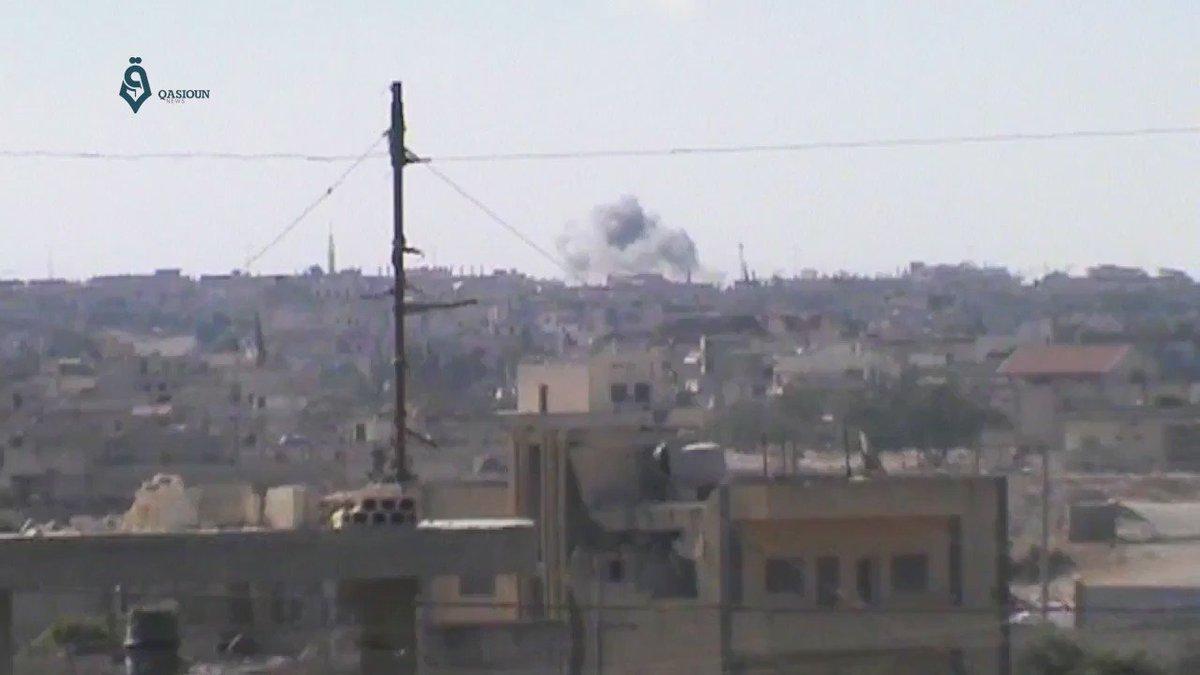 Russian warplanes bombing Rastan/Al Rastan city,Homs, Syria
