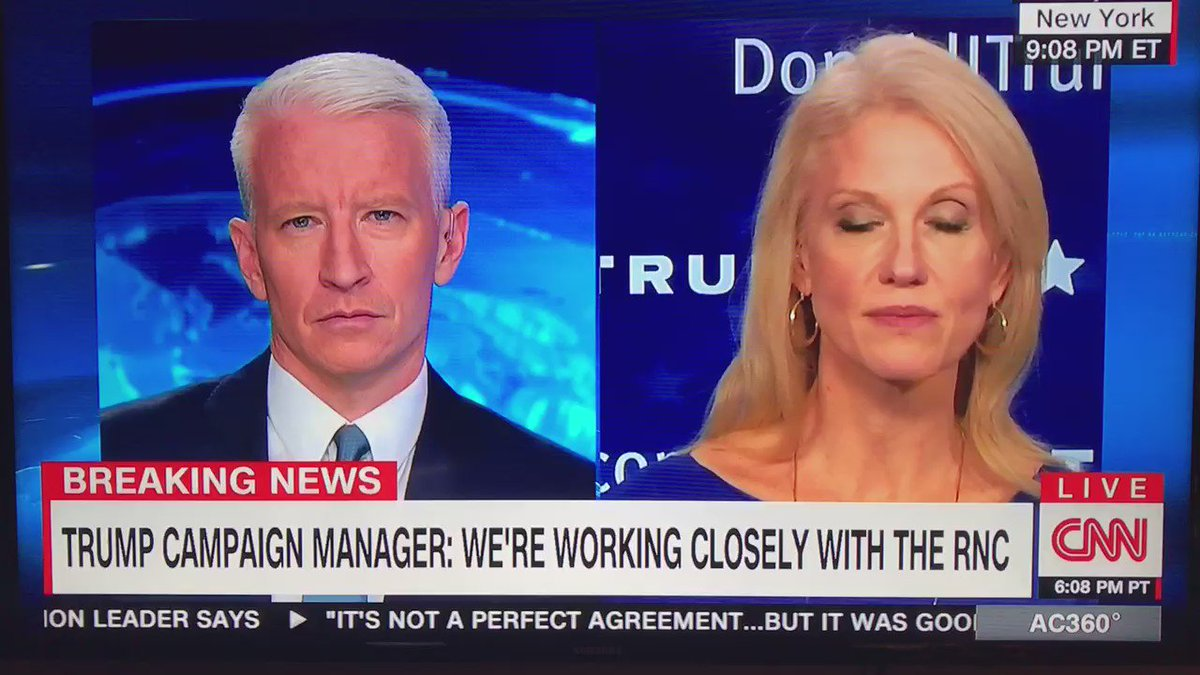 Kellyanne Conway rips Hillary's low poll numbers to Anderson Cooper, who then completely flusters Conway w facts. https://t.co/zh5q7F3eQ0