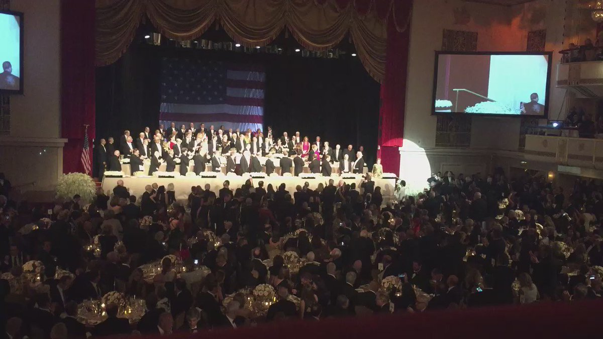 Standing ovation for @HillaryClinton at #AlSmithDinner #NBC4NY https://t.co/ld9nmpslT3