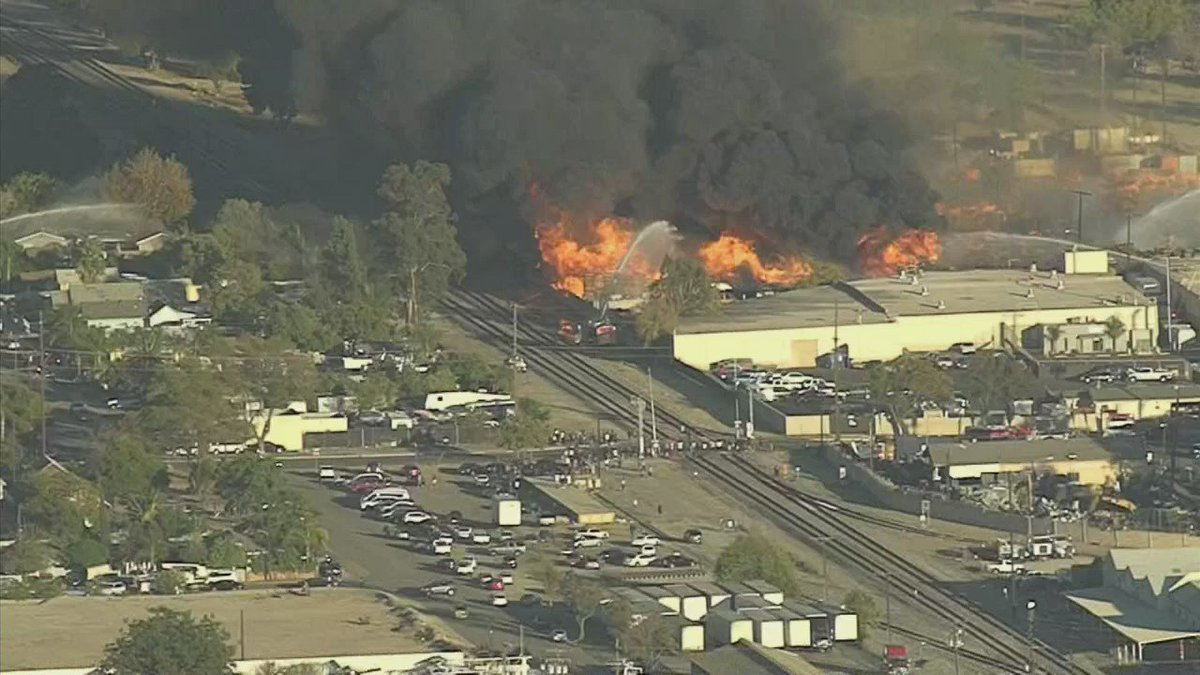 Large fire burning near Ontario airport