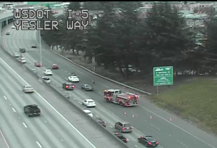 A crash is blocking the two right lanes of the collector-distributor from SB I-5 to I-90 in Seattle.