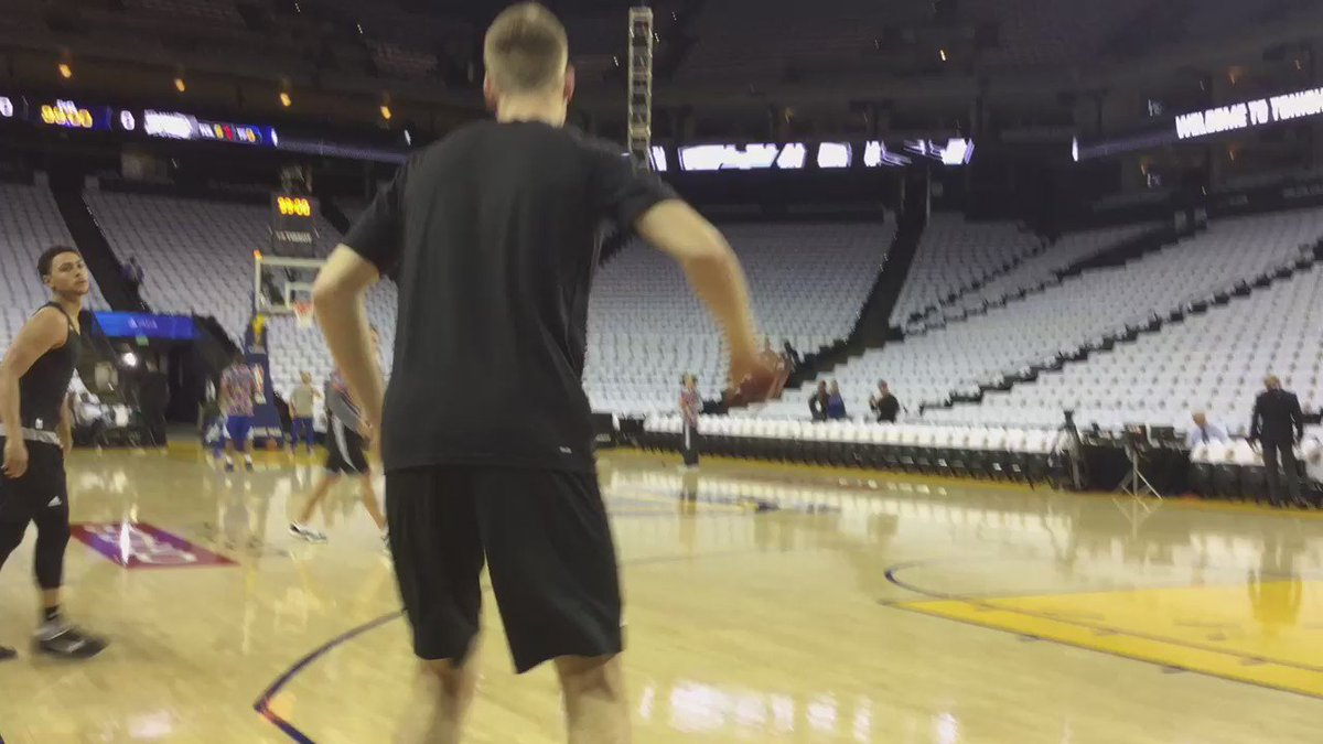 Bertans and Forbes getting pregame shots up... Spurs Warriors