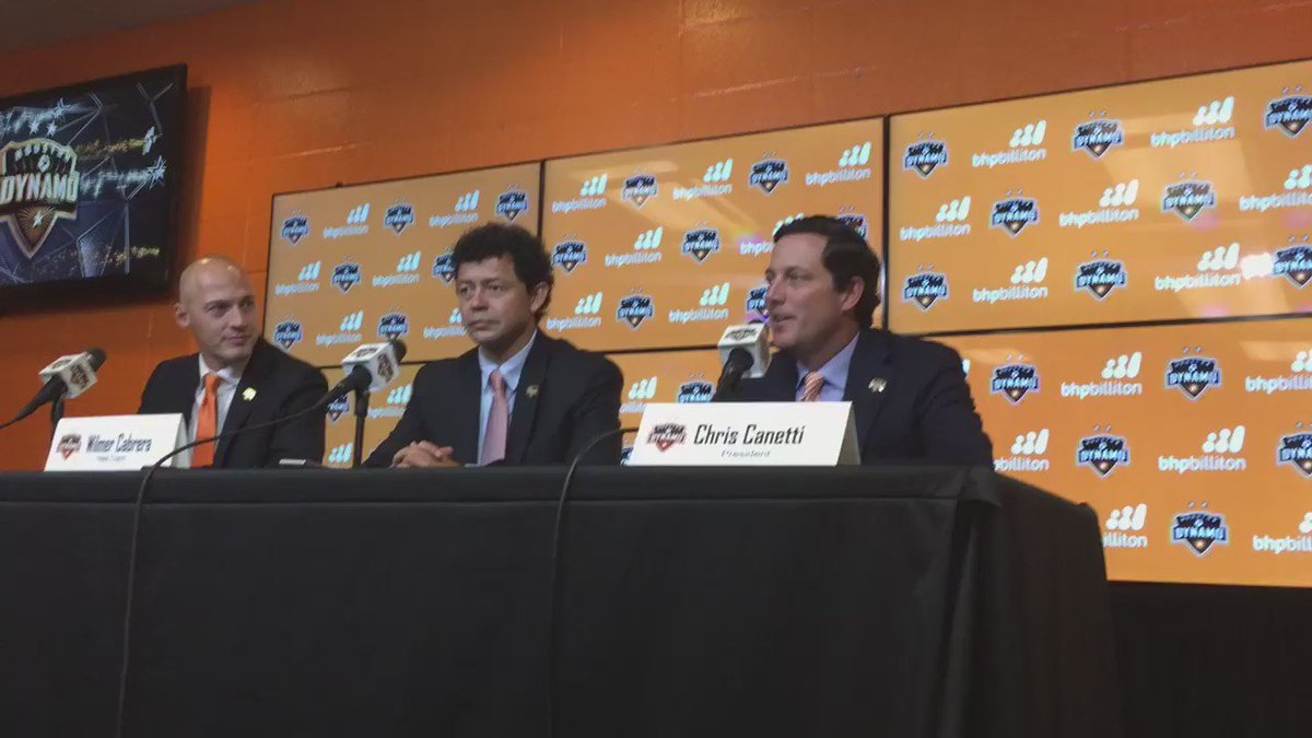 @HoustonDynamo president Chris Canetti introduces new head coach Wilmer Cabrera.