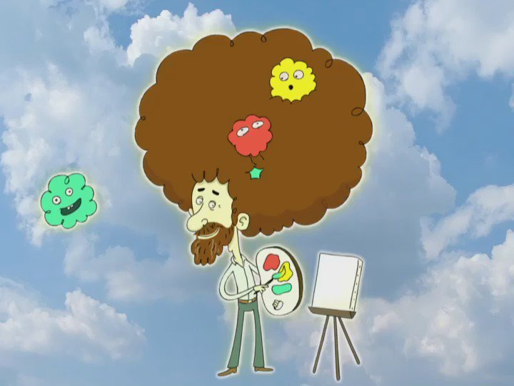 Today's the birthday of everyone's favorite painter-- #BobRoss! Keep painting those happy clouds in the great beyond https://t.co/dNX99COqGG