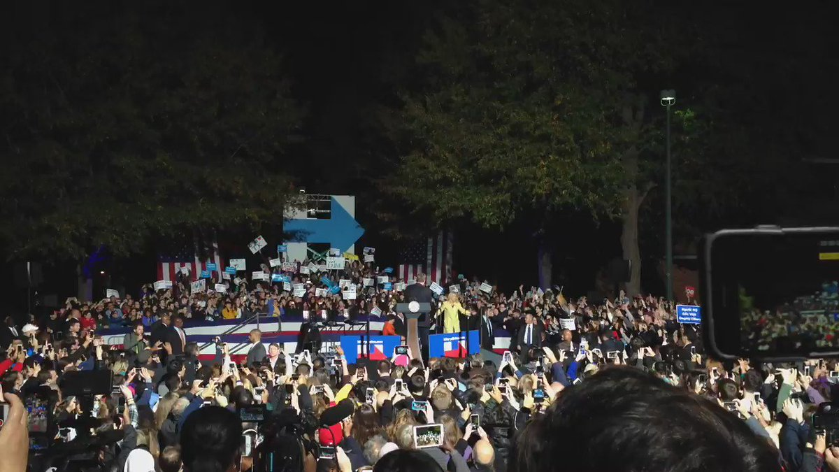 The scene tonight in Fairfax, Va., as Joe Biden, Tim Kaine and their wives took the stage at George Mason University https://t.co/B6Xr1u0fwL