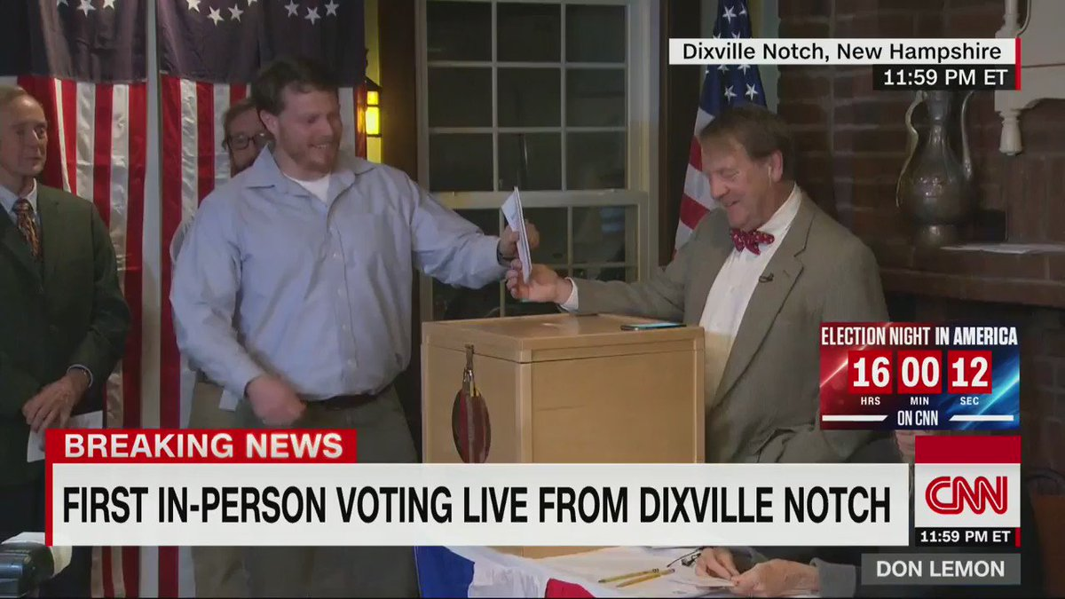The first ballots cast on Election Day have officially been recorded in Dixville Notch, New Hampshire