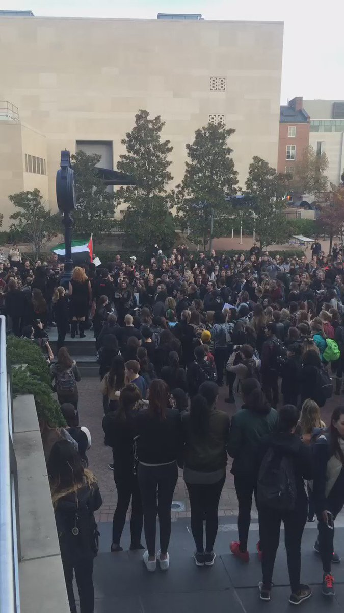 #GWU students are participating in a walk-out in Kogan Plaza to protest Donald Trump https://t.co/8Lhzt7EgWq