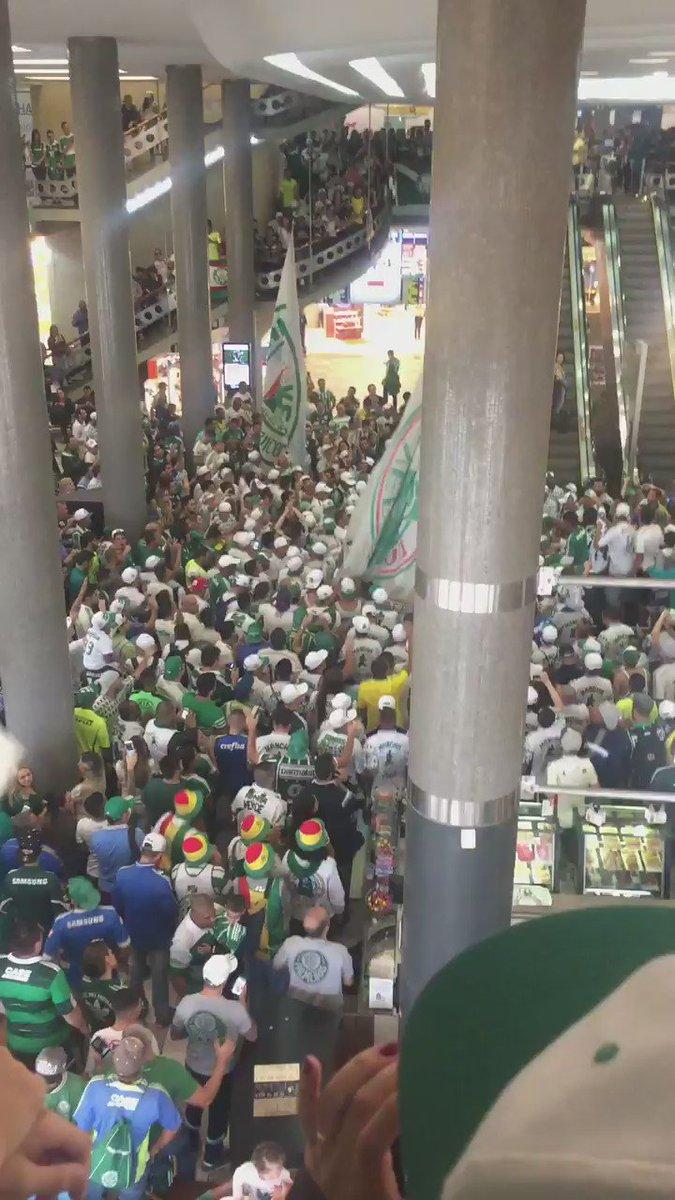 Faltando quase três horas para o embarque do Palmeiras, a torcida está lotando o aeroporto de Congonhas.