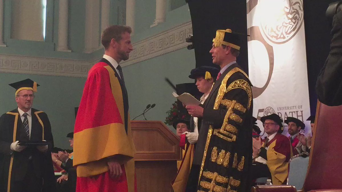 The moment @F1 legend @JensonButton received his honorary degree #BathGrads https://t.co/gmQaBFXJOv