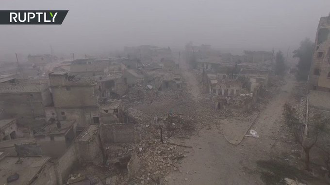 Drone Video: Devastation of deserted eastern #Aleppo (EXCLUSIVE) https://t.co/BaUWdxaQYb
