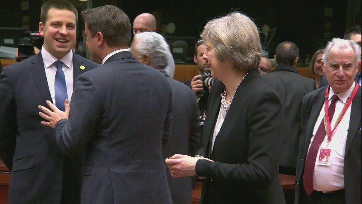 Brexit, in a single shot. This morning at the EU summit.