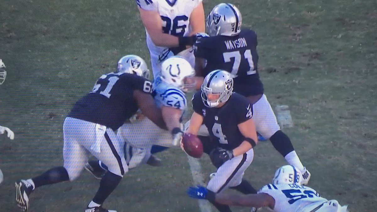 Here's that sack and injury to Derek Carr. That ankle is not supposed to bend that way. #Raiders https://t.co/1pXAD02PlI