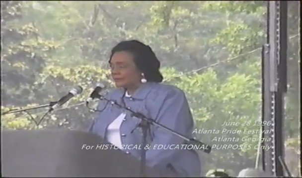 That moment when Mrs. Coretta Scott King spoke at gay pride in Atlanta.   #ShirleyCaesar #KimBurrell https://t.co/l4Fy3LRTAW