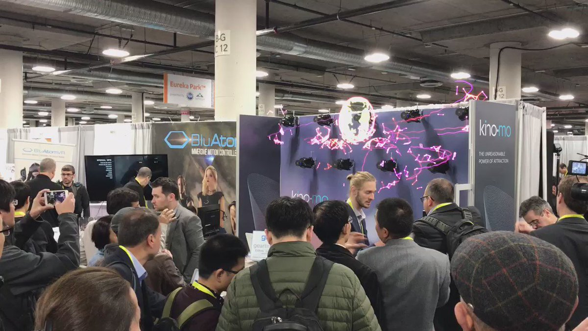 These dazzling holographic displays are attracting a crowd this morning #CES2017