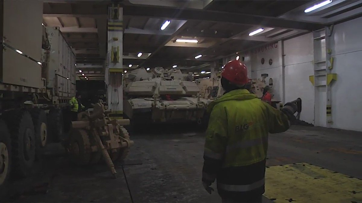 #USArmy: 446 tracked vehicles, 907 wheeled vehicles, and 650 trailers offloading from a ship, Jan. 6, at Bremerhaven Germany.