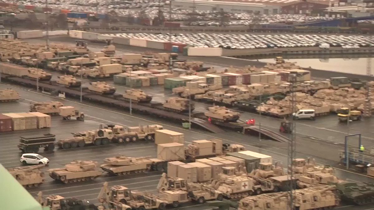 #USArmy: Overview of the port, day 3 of port operations at Bremerhaven Port, Germany in support of Operation Atlantic Resolve (To Poland).