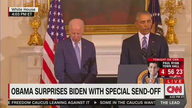Joe Biden cries as Barack Obama surprises him with the Presidential Medal of Freedom https://t.co/2jKQCQnUiz