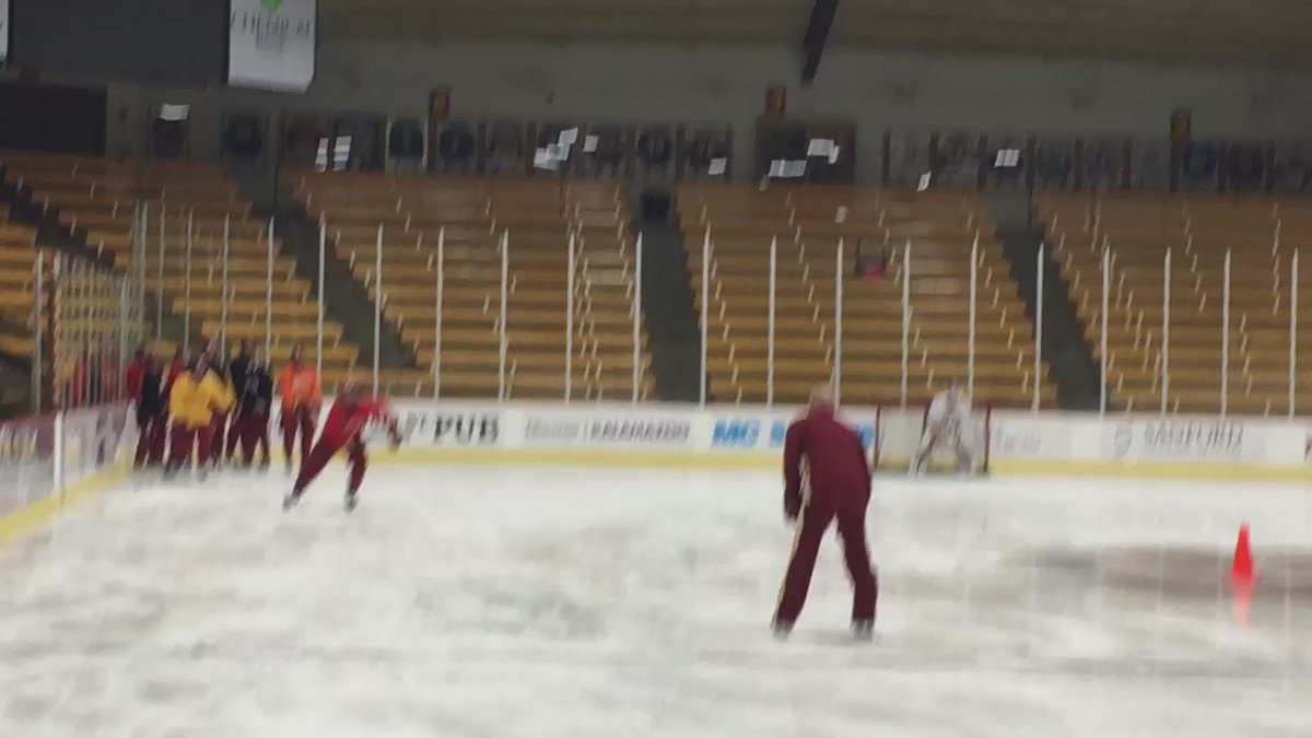 No sticks? No problem! The Pios are working on their miming skills at today's practice in Kalamazoo