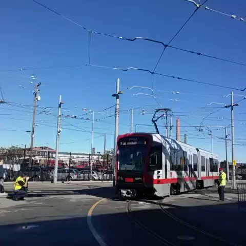 Let the testing begin for the first new #MuniMetro train, expected to roll out in late summer. #SFMuni https://t.co/SVOq3AGxQu