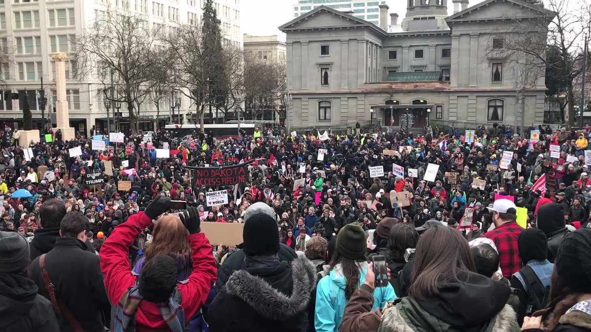 The scene at Pioneer Courthouse Square in Downtown Portland right now...