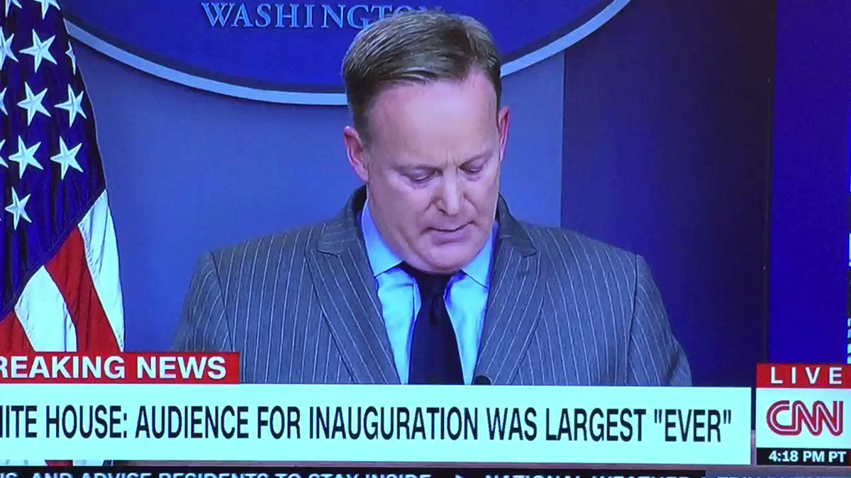 Trump's new Minister of Disinformation @seanspicer shreds his own credibility on Day One #FactsMatter #TrumpLies